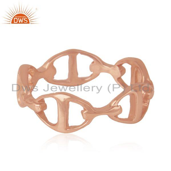 Suppliers Rose Gold Plated Solid 925 Sterling Silver Designer Band Ring Manufacturer India
