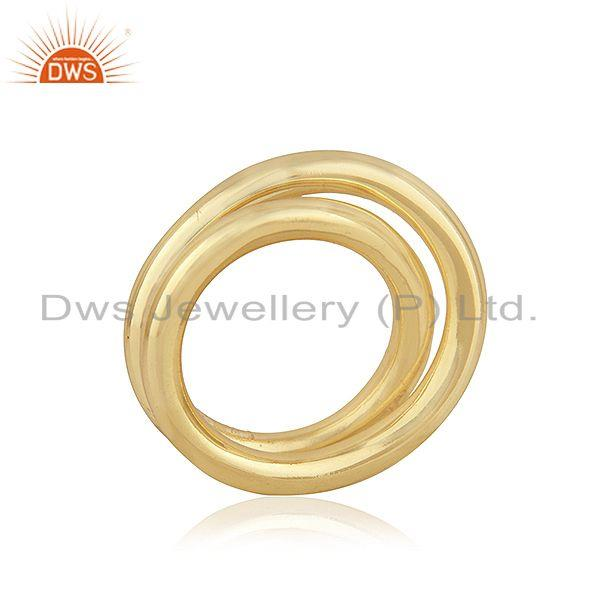 Suppliers Handmade Simple Wire 925 Silver Yellow Gold Plated Unisex Ring Jewelry Supplier