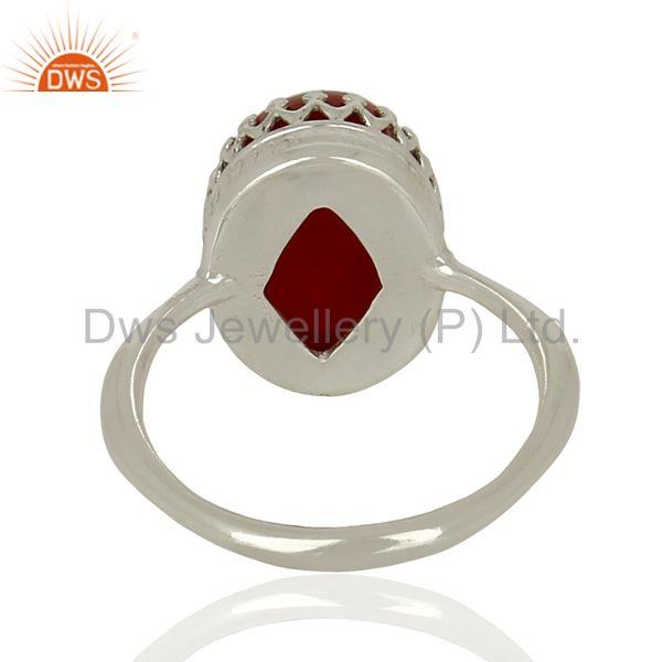 Designers Handmade Sterling Fine Silver Crow Design Carnelian Gemstone Ring