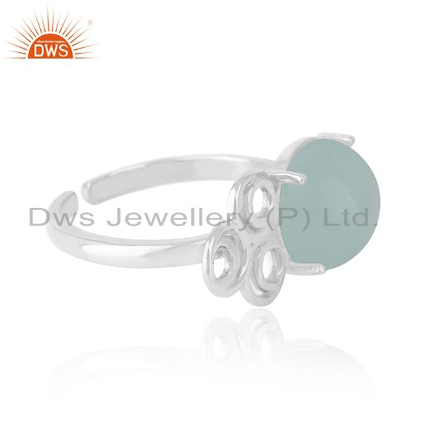 Best Selling Solid 925 Sterling Silver Chalcedony Gemstone Rings Manufacturers