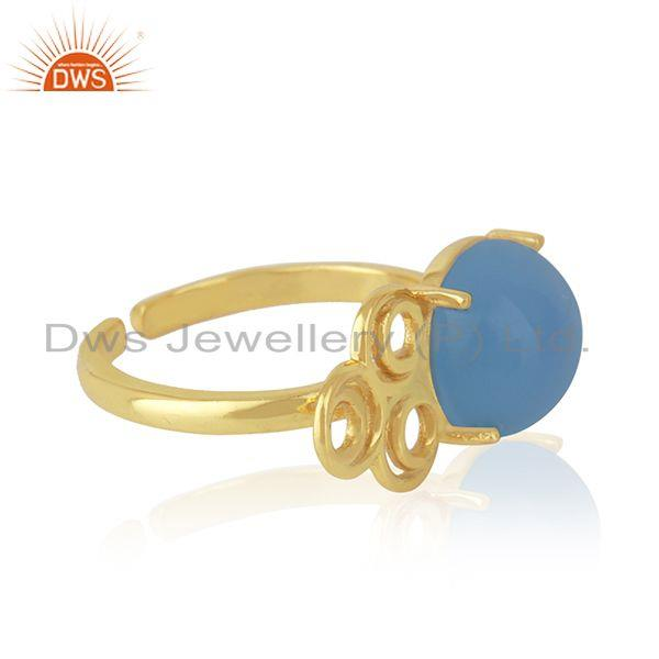 Top Selling Designer Gold Plated Blue Chalcedony Gemstone Ring Jewelry