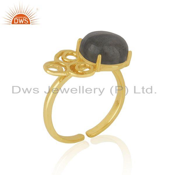 Top Quality Labradorite Gemstone Girls Gold Plated Silver Ring Jewelry Supplier