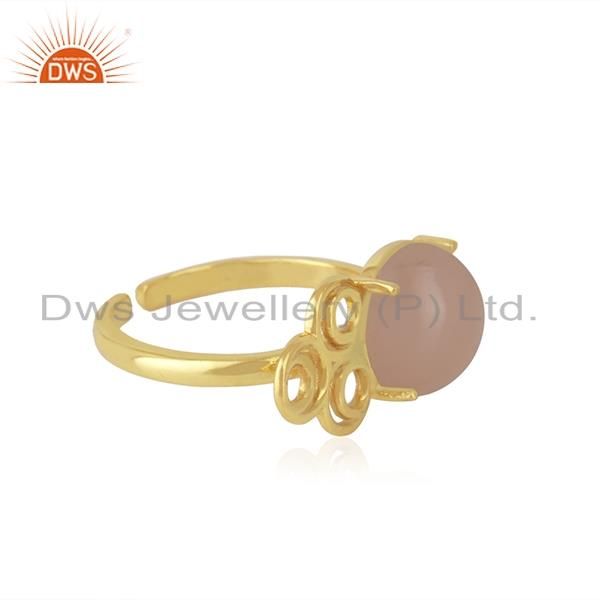 Best Selling Rose Chalcedony Gemstone Gold Plated 925 Silver Designer Ring Wholesale