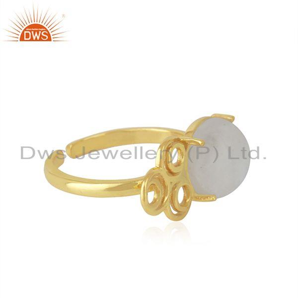 Top Selling Rainbow Moonstone 925 Silver Gold Plated Designer Ring Manufacturer India