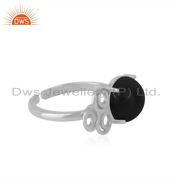 Best Selling Natural Black Onyx Gemstone Designer Fine Sterling Silver Ring Manufacturer