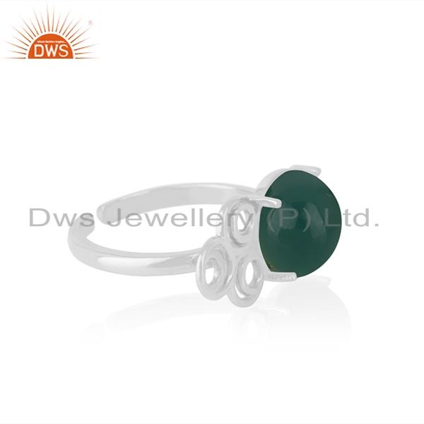 Top Quality Designer Fine Sterling Silver Green Onyx Gemstone Ring Wholesale
