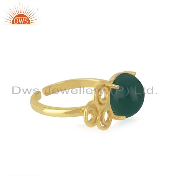 Top Selling 18k Gold Plated Sterling Silver Green Onyx Gemstone Promise Ring Manufacturer