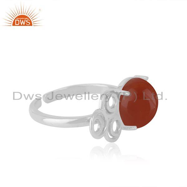 Best Quality Red Onyx Gemstone Fine Sterling Silver Designer Ring Manufacturers