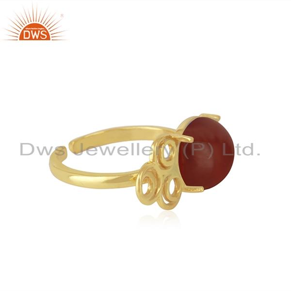 Best Quality 18k Gold Plated 925 Sterling Silver Red Onyx Gemstone Wedding Ring Wholesale