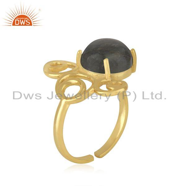 Best Quality Yellow Gold Plated 925 Silver Labradorite Gemstone Ring Manufacturer of Jewelry
