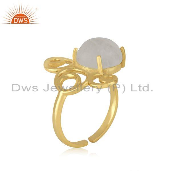 Top Selling Designer 925 Silver Gold Plated Rainbow Moonstone Ring Manufacturer India
