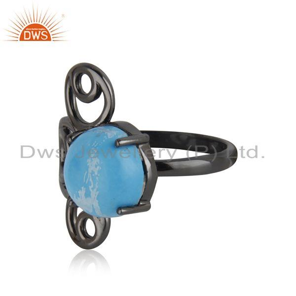 Top Quality 92.5 Silver Black Rhodium Plated Turquoise Gemstone Ring Manufacturer India