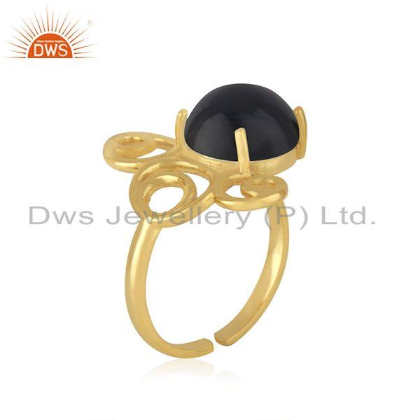 Best Quality Gold Plated 925 Silver Black Onyx Gemstone Trendy Ring For Girls Jewelry