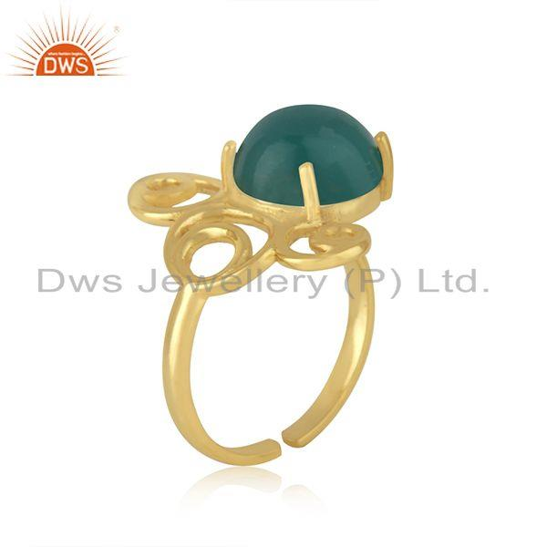Best Selling Green Onyx Gemstone 925 Silver Gold Plated Designer Ring Jewelry For Womens