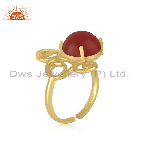 Top Selling Yellow GOld Plated 925 Silver Red Onyx Gemstone Ring Manufacturer India