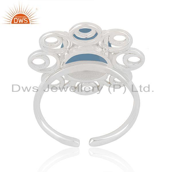 Top Selling Fine Sterling Silver Floral Design Blue Chalcedony Gemstone Ring Wholesale