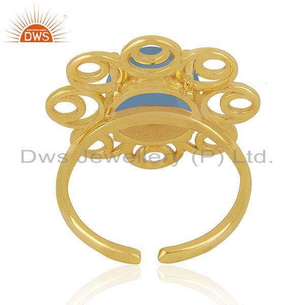 Best Selling Blue Chalcedony Gemstone Gold Plated Silver Floral Design Ring Manufacturer