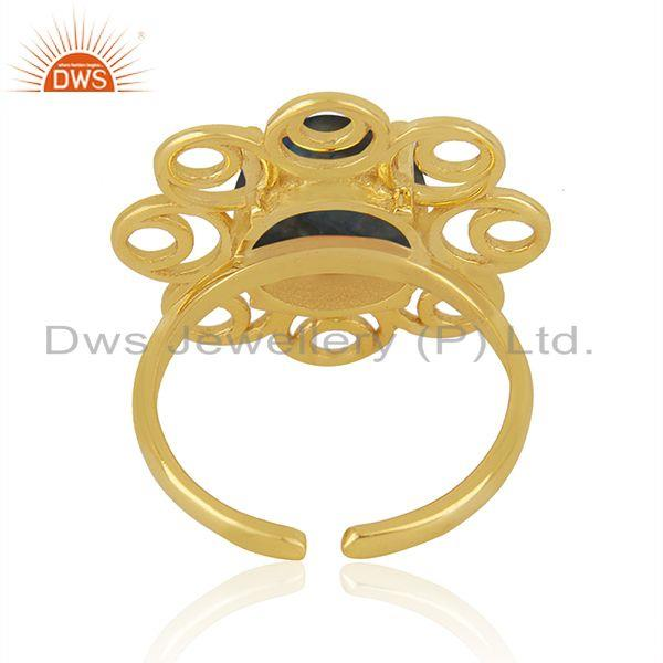 Top Quality Labradorite Gemstone Gold Plated 925 Silver Floral Design Ring Wholesale