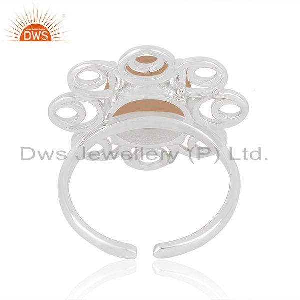 Top Selling Floral Design Fine Sterling Silver Rose Chalcedony Gemstone Ring Supplier India