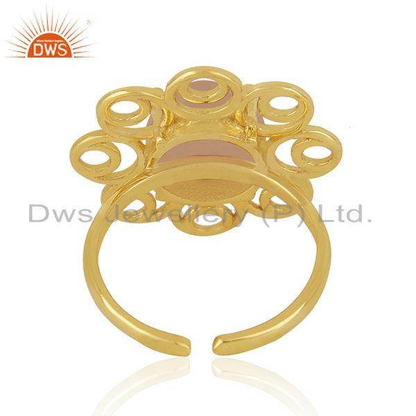 Best Selling Rose Chalcedony Gemstone Gold Plated 925 Silver Floral Design Ring Suppliers