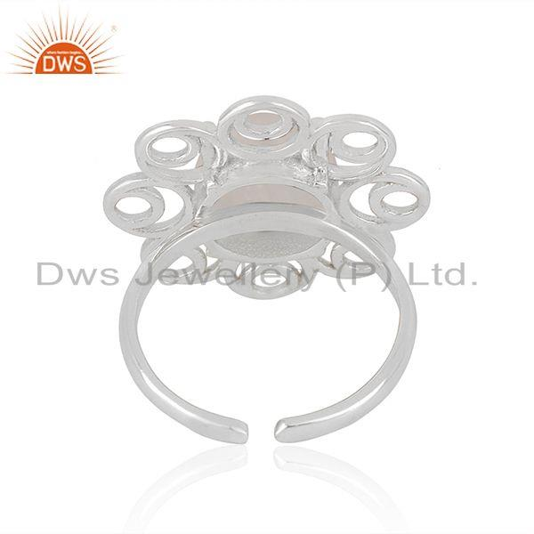 Best Quality Sterling Silver Rainbow Moonstone Floral Design Ring For Womens Wedding
