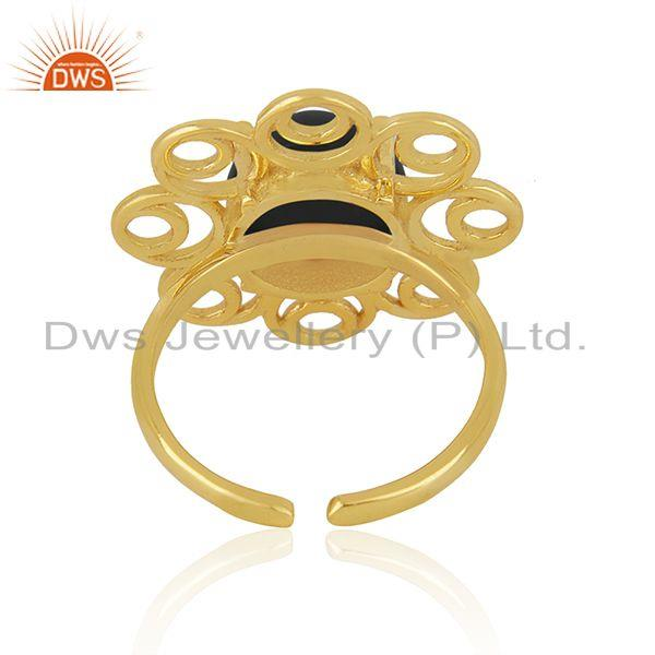 Best Selling Black Onyx Gemstone 925 Silver Gold Plated Floral Design Ring For Girls Jewelry