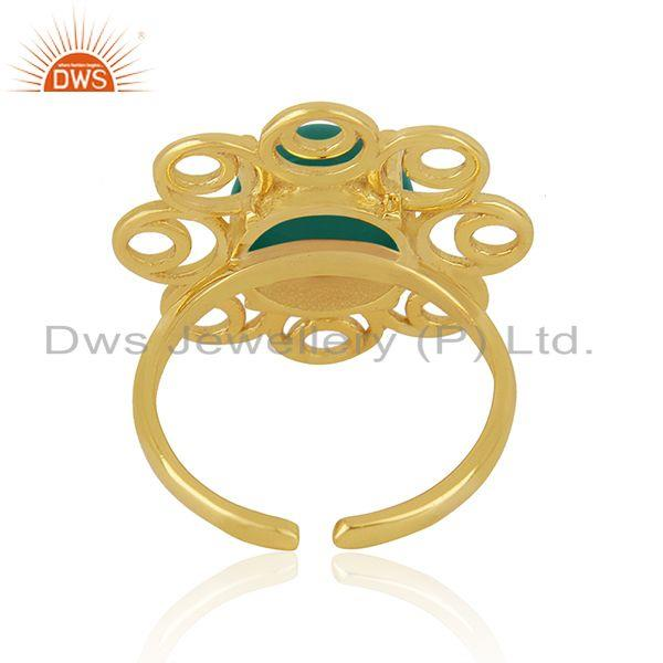 Top Quality Green Onyx Gemstone Floral Design 925 Silver Gold Plated Promise Ring For Girls