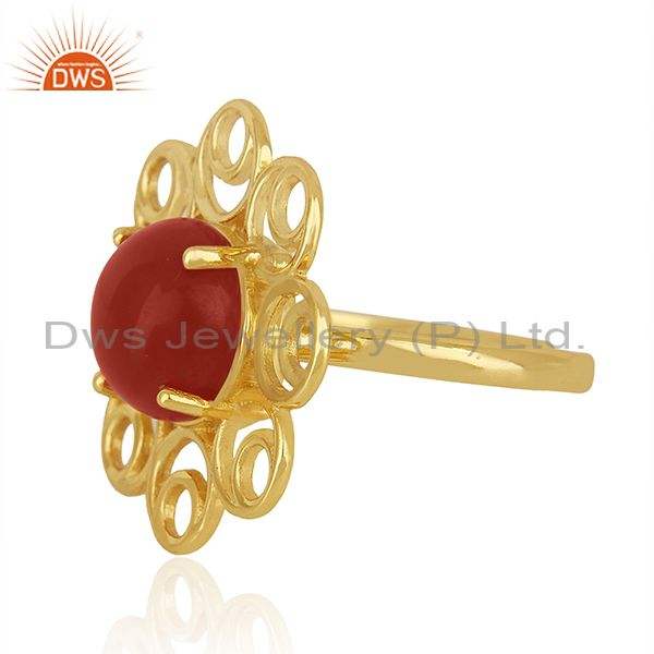 Best Selling Red Onyx Gemstone Gold Plated 925 Silver Floral Design Ring Manufacturer