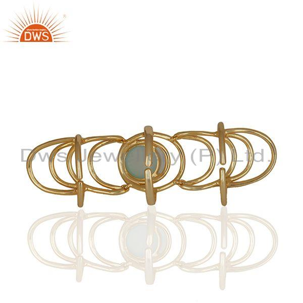 Best Quality Aqua Gemstone Sterling Silver Gold Plated Knuckle Ring Manufacturers