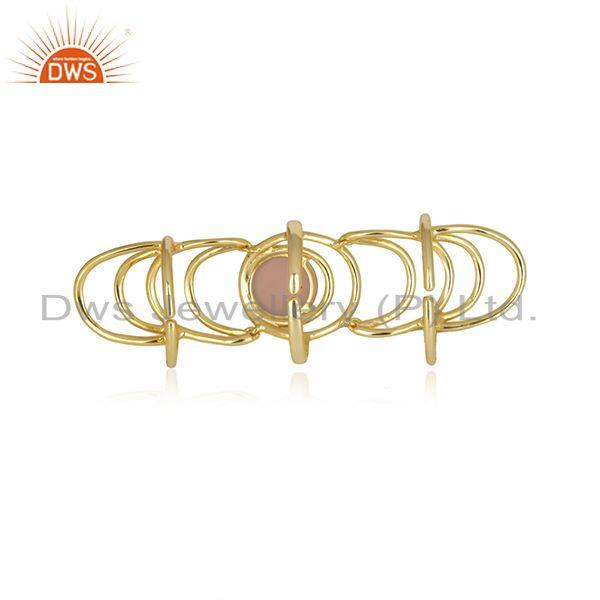 Top Selling Rose Chalcedony Gemstone Gold Plated 925 Silver Knuckle Ring Wholesale