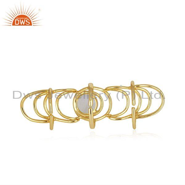 Best Quality Gold Plated 925 Fine Silver Rainbow Moonstone Knuckle Ring Wholesale