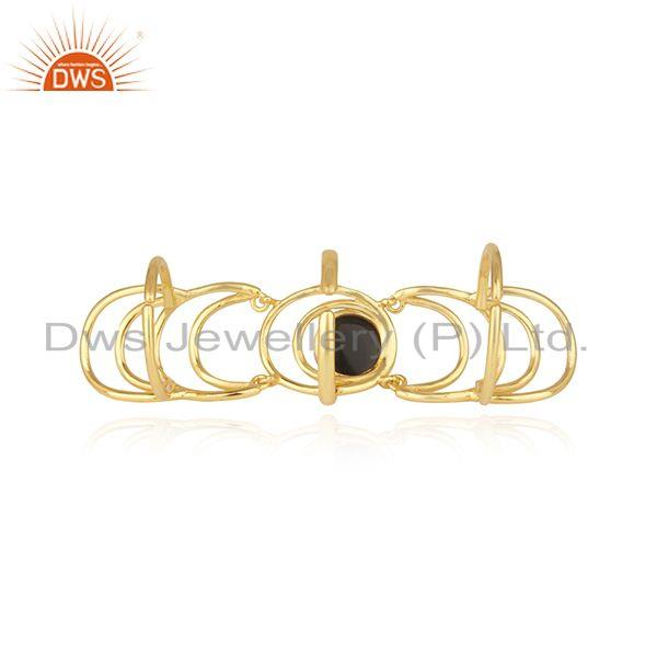 Top Quality Black Onyx Gemstone Gold Plated Sterling Silver Designer Knuckle Rings