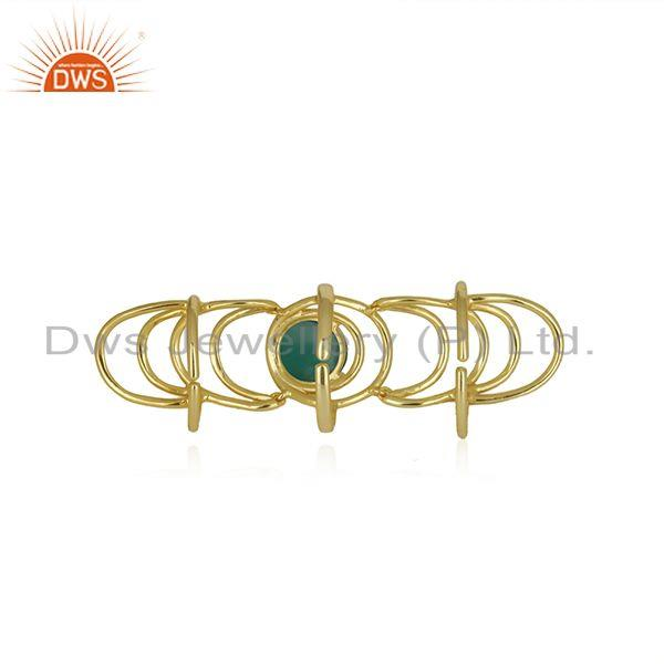 Top Selling Green Onyx Gemstone Gold Plated 925 Silver Knuckle Ring Manufacturer