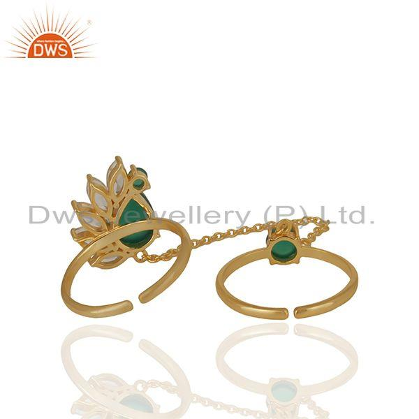 Suppliers Multi Gemstone 925 Silver Double Finger Custom Rings Manufacturers