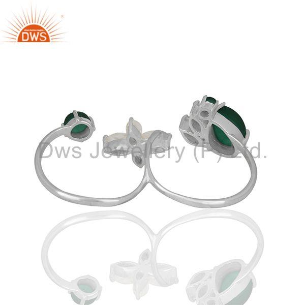 Suppliers Crystal Quartz and Green Onyx Gemstone Multi Finger Rings Wholesale