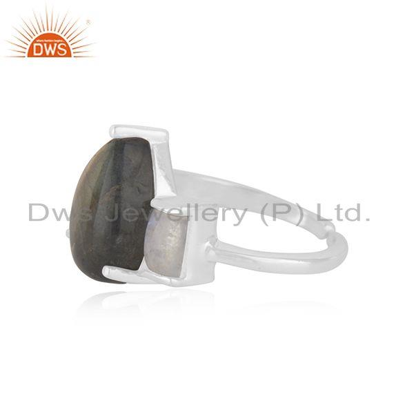 Suppliers Rainbow Moonstone and Labradorite Gemstone 925 Silver Statement Ring Wholesale