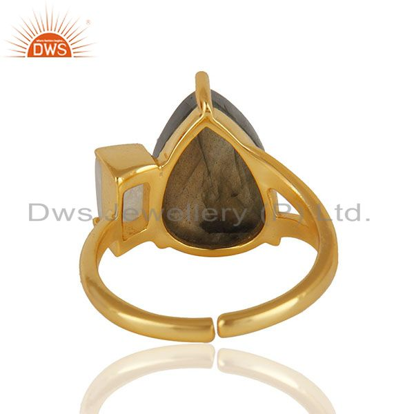 Suppliers Labradorite Gemstone 92.5 Sterling Silver Gold Plated Ring Jewelry