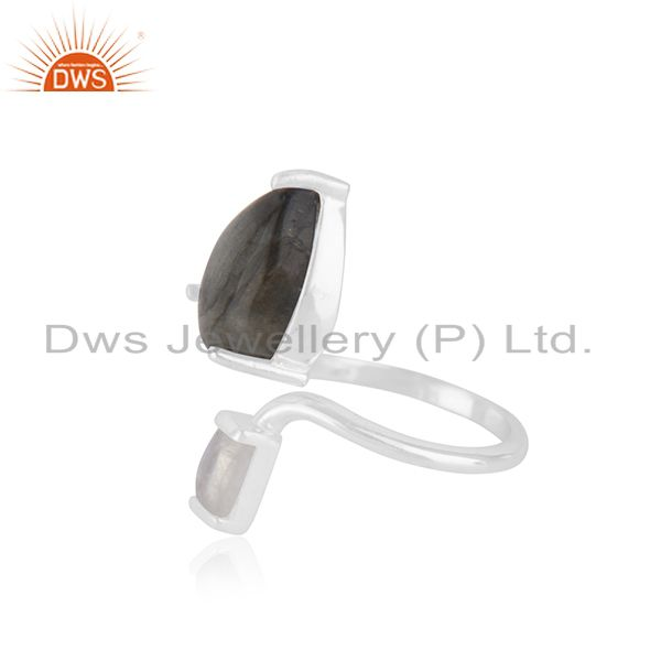 Suppliers Handmade 925 Fine Silver Two Gemstone Set Ring Jewelry Manufacturer
