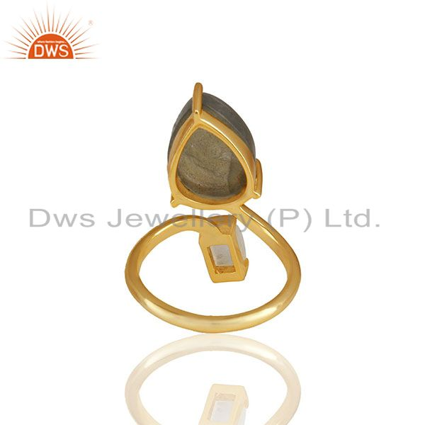 Suppliers Natural Multi Gemstone 92.5 Sterling Silver Gold Plated Rings Jewelry