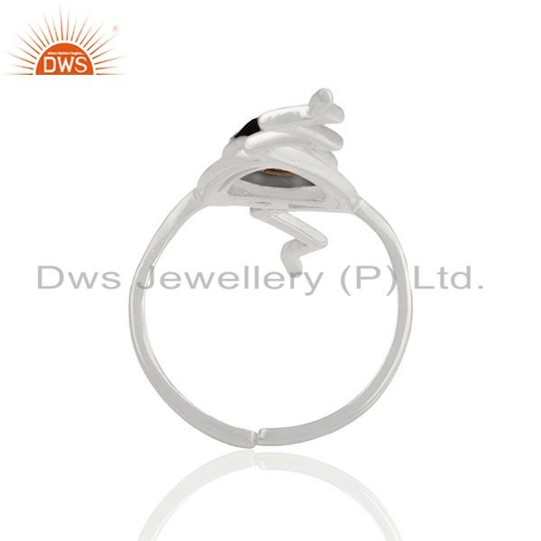 Suppliers Hematite Studded Simple Heartbeat Designer Silver Ring