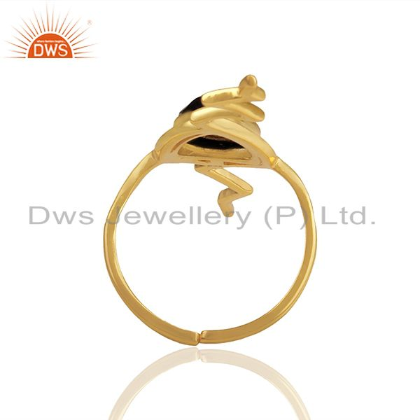 Suppliers Hematite Studded Simple Heartbeat Gold Plated Designer Silver Ring