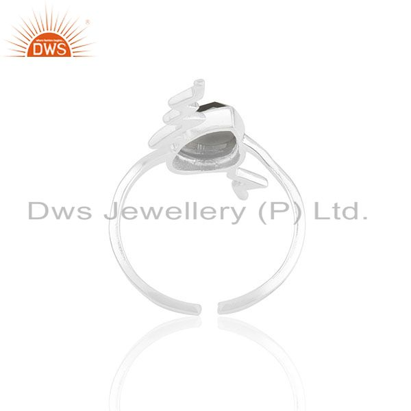 Suppliers Hematite Simple Heartbeat Designer Silver Ring