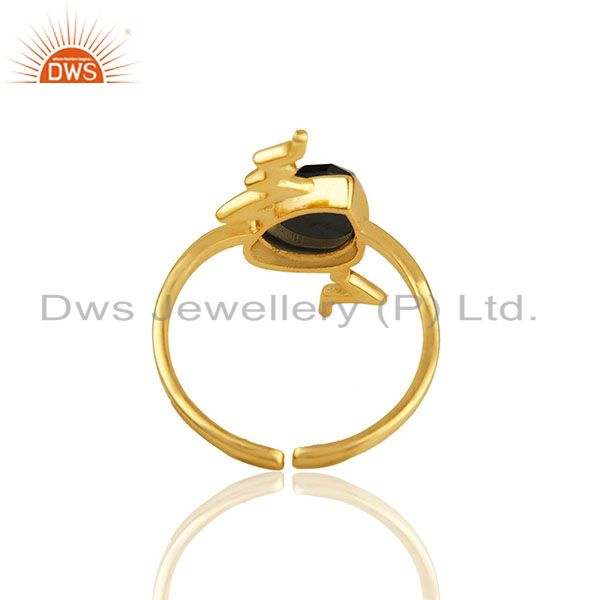 Suppliers Hematite Simple Heartbeat Gold Plated Designer Silver Ring