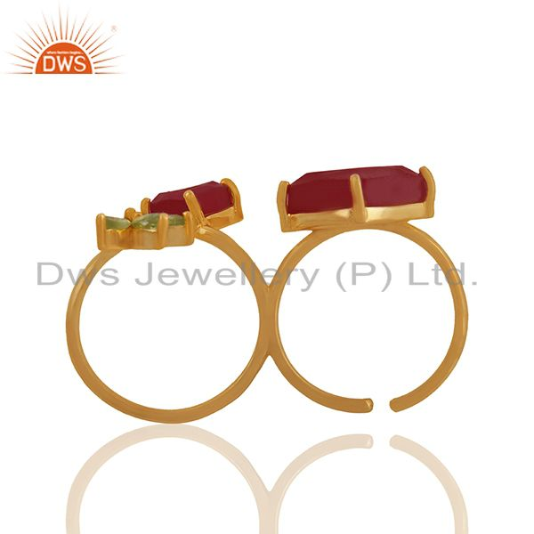 Suppliers Designer Multi Gemstone 925 Silver Gold Plated Double Finger Rings