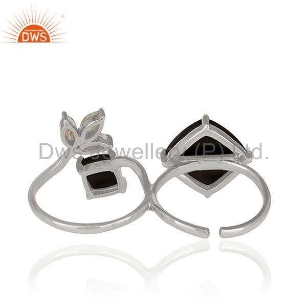 Suppliers Zircon and Black Onyx Gemstone Fine Sterling Silver Double Finger Ring Wholesale