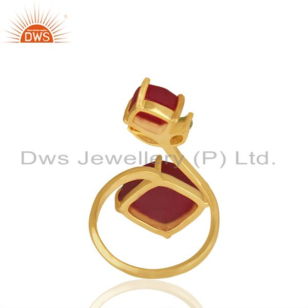 Suppliers Customized Multi Gemstone 925 Silver Gold Plated Rings Jewelry
