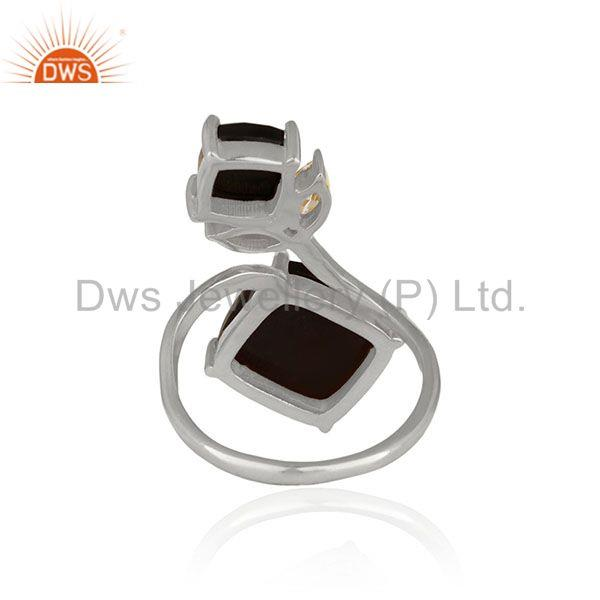 Suppliers Black Onyx Gemstone Handmade 925 Sterling Silver Double Finger Rings Suppliers