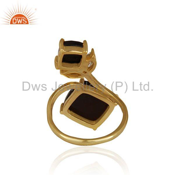 Suppliers 14k Gold Plated 925 Silver Black Onyx and Zircon Gemstone Double Finger Rings