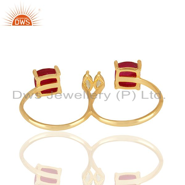 Suppliers Peridot and Ruby Gemstone 925 Silver Gold Plated Multi Finger Rings
