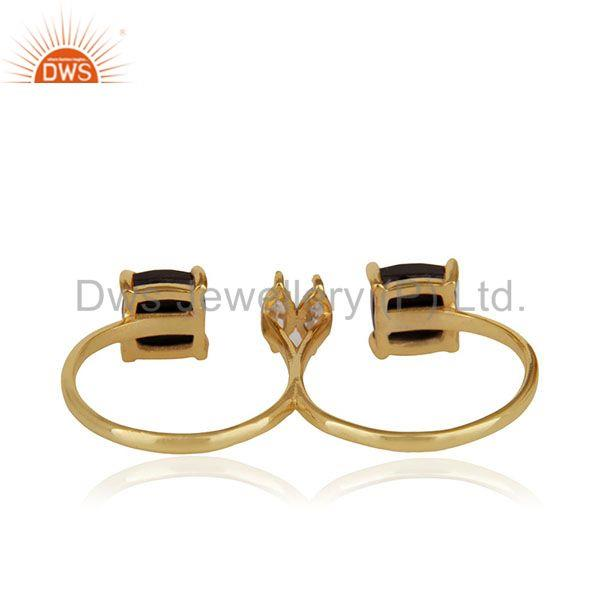 Suppliers Black Onyx Gemstone Double Finger Gold Plated 925 Silver Ring Jewelry